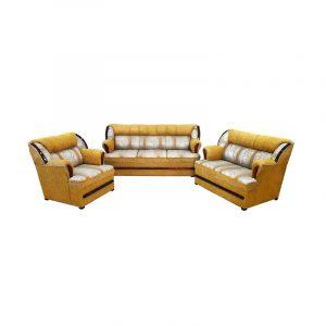 Sala de 3 piezas estilo clásico con detalles en madera.