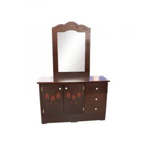 Mueble Tocador con Luna color nogal y diseño en puerta de alcatraz