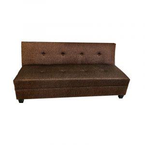 Sofa cama abatible en color café, forro de tela.