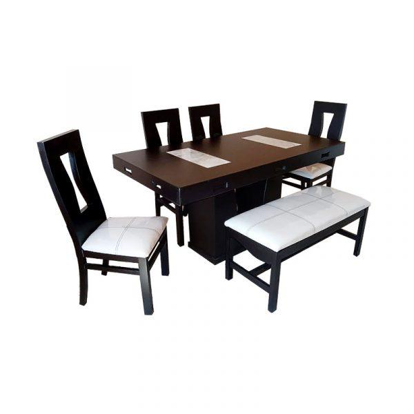 Antecomedor de 4 sillas y 1 banca color chocolate