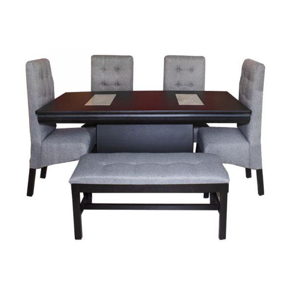 Antecomedor modelo Qatar con 4 sillas y banca en tapiz de tela gris